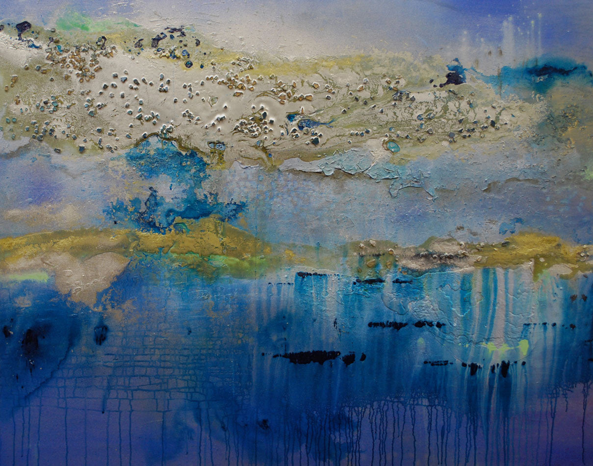 WaterWake / 60 x 48 / mixed media on canvas with metallic powders - glass and resin