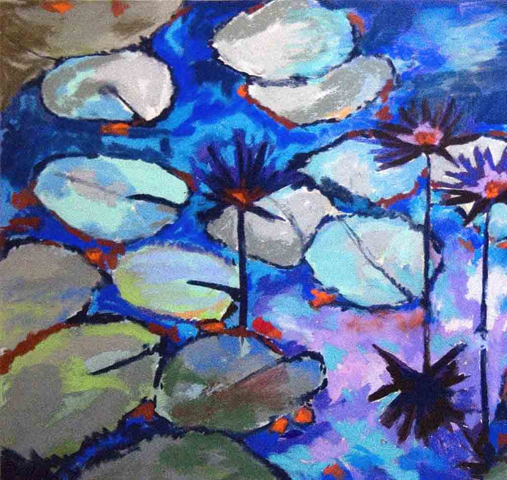 Waterlilies Blue / 24 x 24 / acrylic - soft pastel - on paper