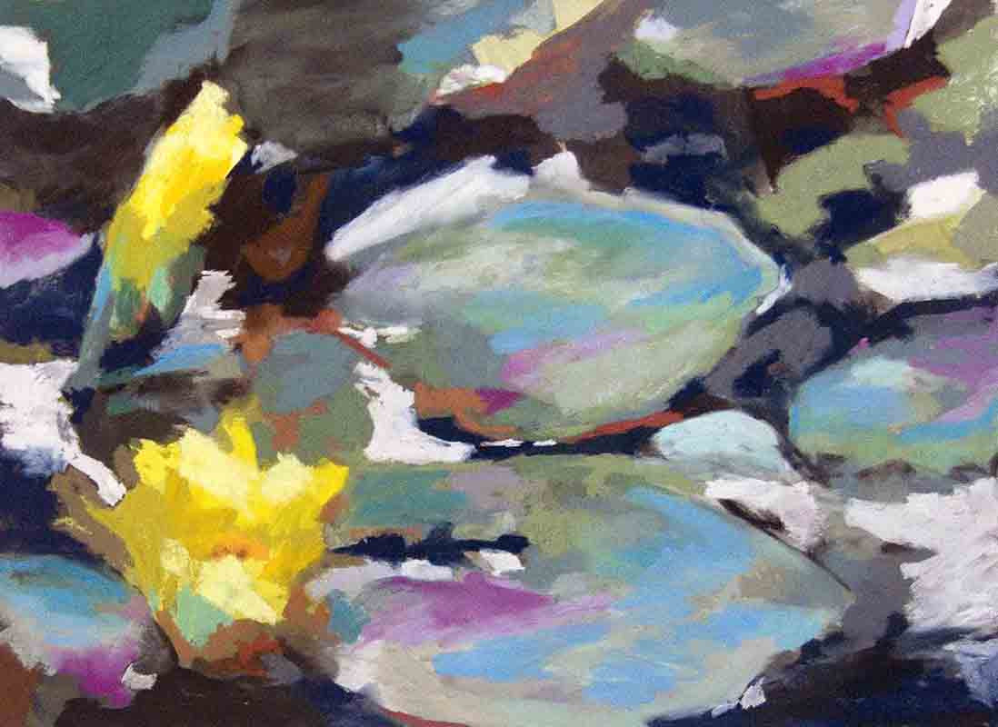 Waterlilies Yellow / 36 x 24 / acrylic - soft pastel - on paper