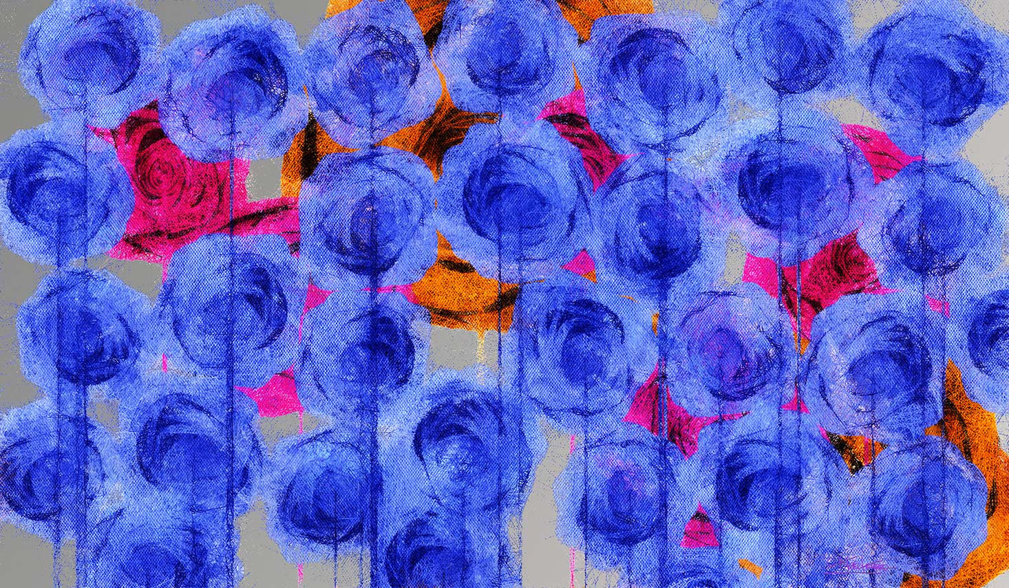 Weeping Roses / 54 x 32 x 2 / digital art on aluminum