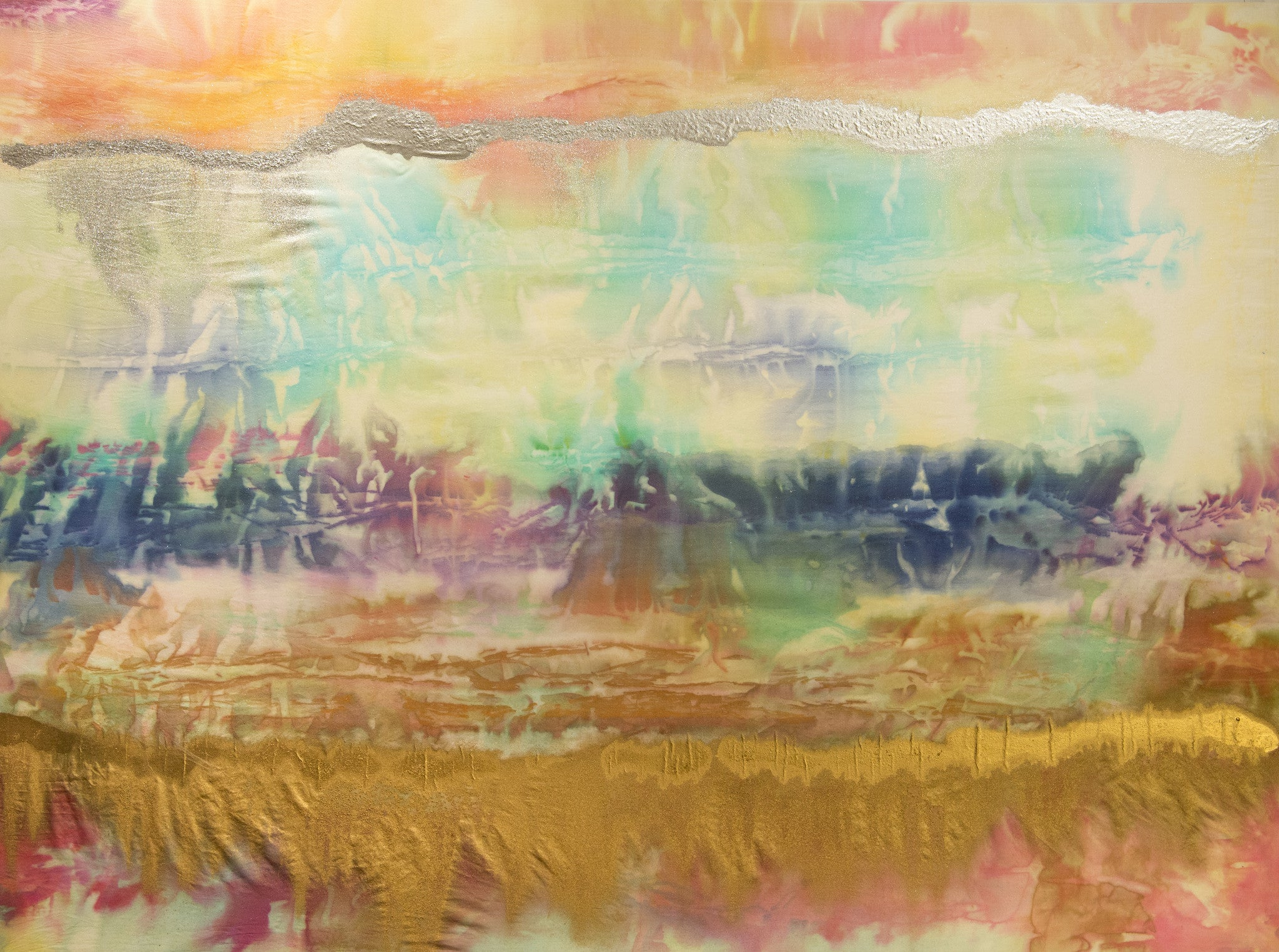 Wind Dance I / 48 x 36 / painted silk with metallics by Mary Barr Rhodes