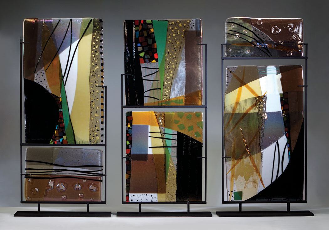 Triptych / 90 x 60 x 8 / fused glass in welded steel stands