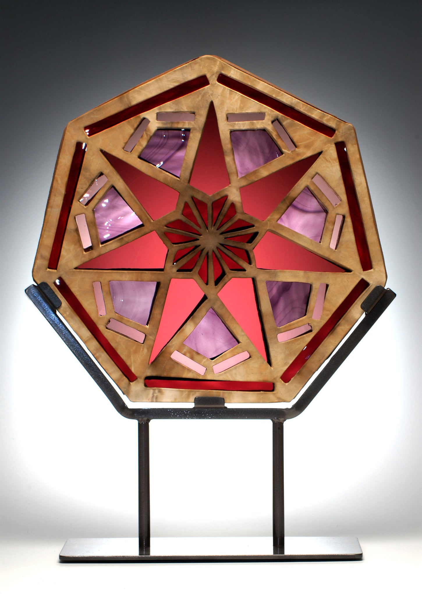 Purple Heptagon Window Sculpture / 16 x 20 / stained glass and clay on metal stand