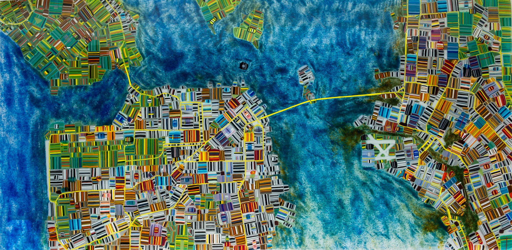 Map / 48 x 24 / fused and bent glass