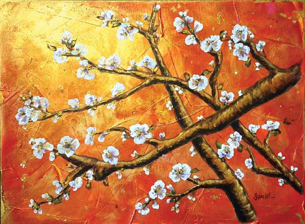 Red Oriental Blossom / 24 x 18 / acrylic on canvas