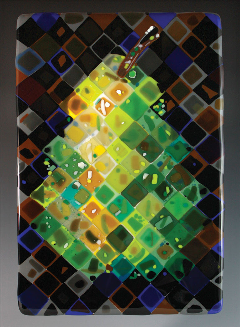 Pear / 12.5 x 18.25 x 1.25 / fused glass comprised of 160 1 inch squares