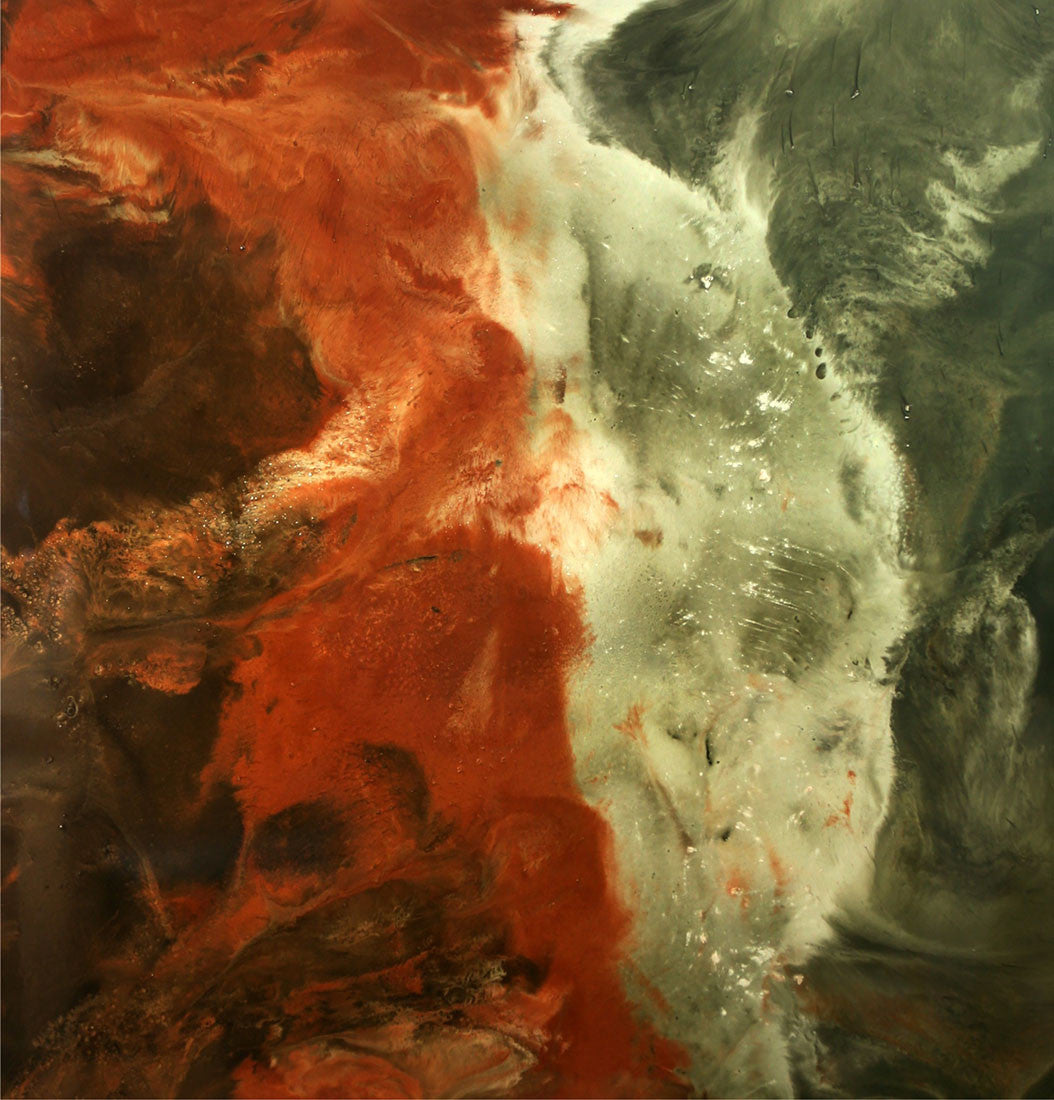 Running Wind / 48 x 48 x 1 / mica pigment and resin on wood