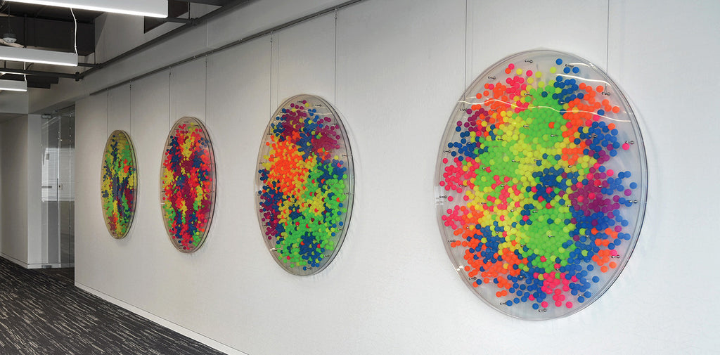 Sanctuary (series of 4) / 53 x 53 x 2.5 each / bouncy balls, plexiglass, stainless steel