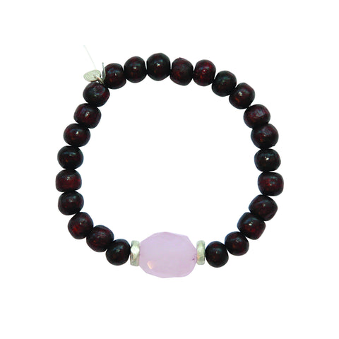 The Elements Collection: Air: Mala Rose Quartz Rosewood Bracelet