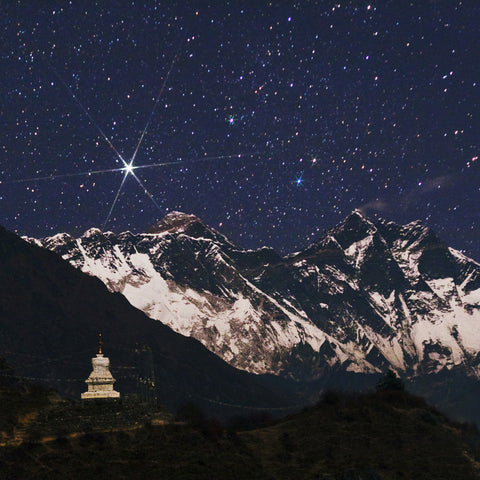 Star over Chomolungma (Mount Everest) Greeting Cards
