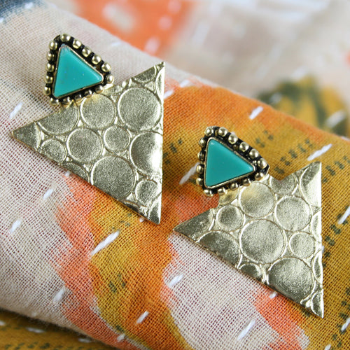 Gold and Turquoise Triangle Earrings