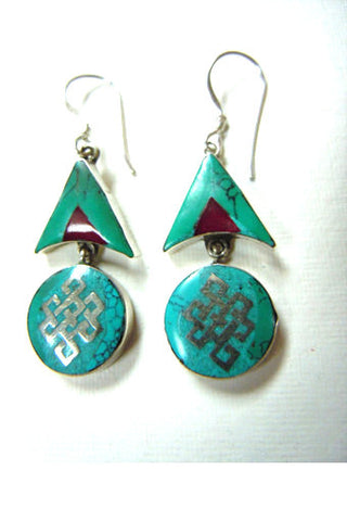 Turquoise and Coral Eternal Knot Earrings