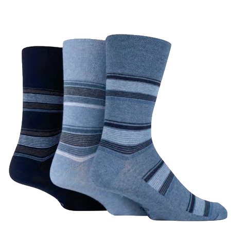 Men's Blue Stripe Socks (3 pack)
