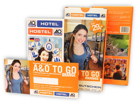 "Hostel Gutschein ""AO TO GO orange"" (Geschenkbox)"