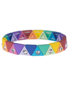 Rainbow Triangle Stretch Bracelet with Crystals