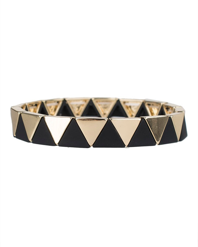 Black and Gold Triangle Pattern Stretch Bracelets