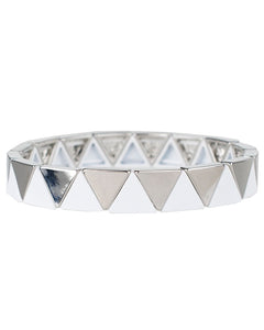 White and Silver Triangle Pattern Stretch Bracelets
