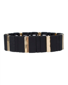 Black and Gold Rectangle Stretch Bracelet