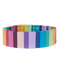 Rainbow Rectangle Stretch Bracelet