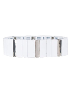White and Silver Rectangle Stretch Bracelet