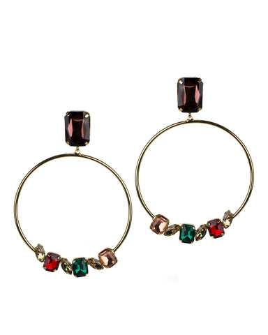Open Circle Crystal Drop Earrings