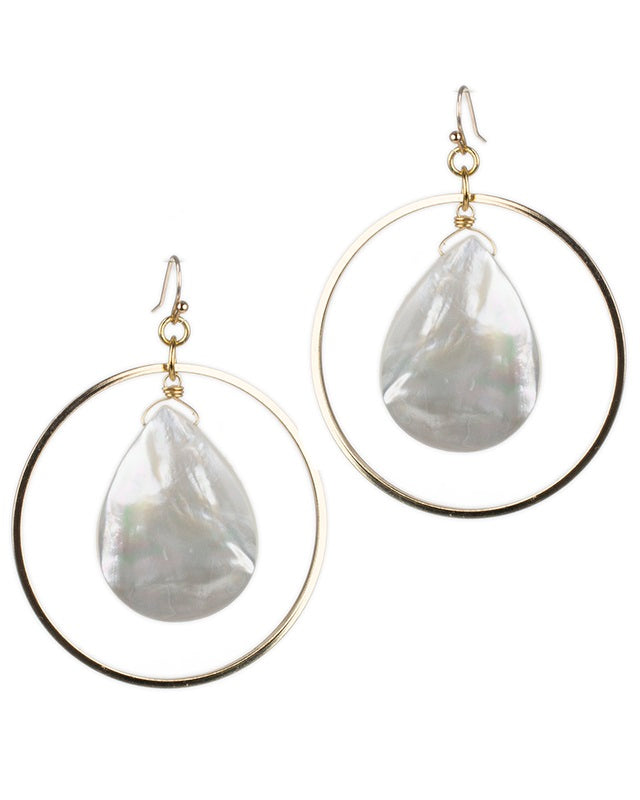 Round Drop Earrings with Pearl