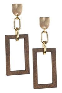 Geometric Wood Drop Earrings