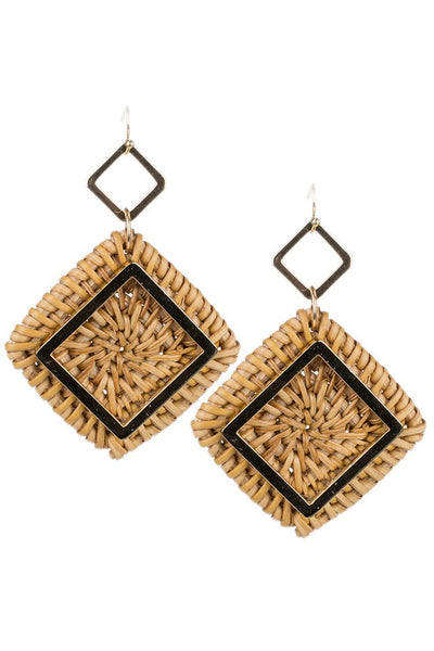 Geometric Rattan Drop Earrings