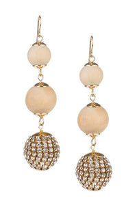 Wood and Crystal Ball Drop Earrings