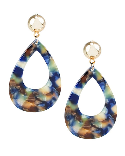 Marbled Resin Teardrop Earrings