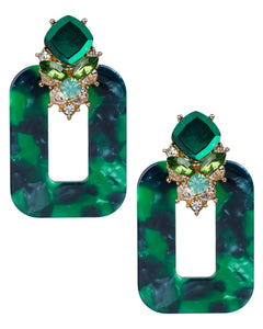 Green Marble Resin and Crystal Earrings