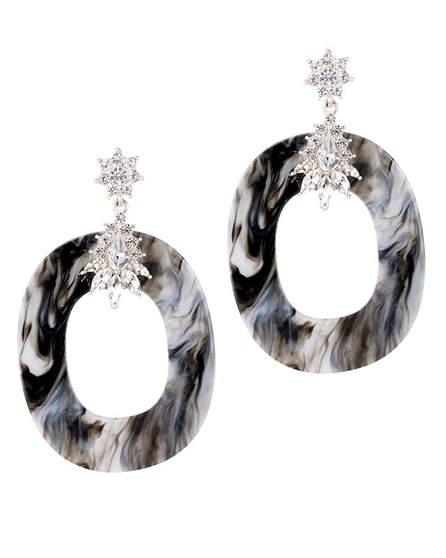Marbled Grey and Crystal Earrings
