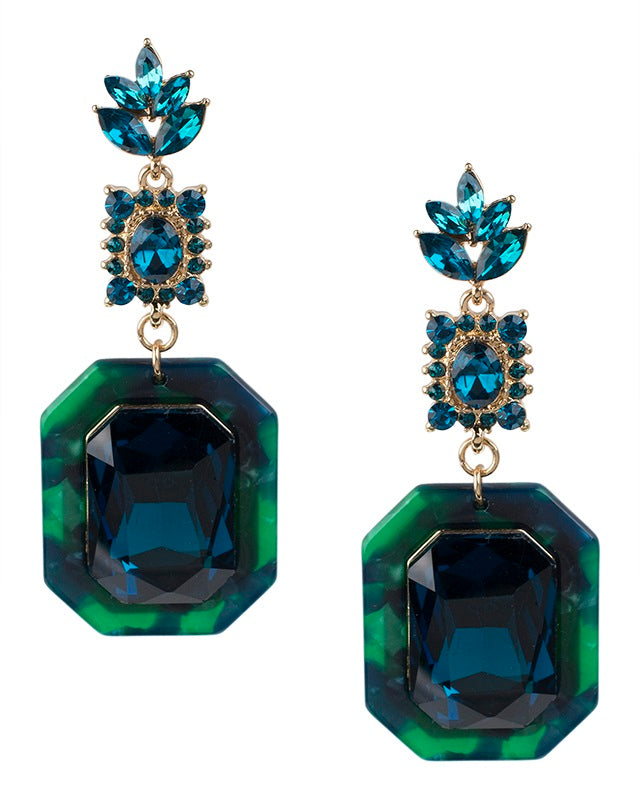 Marbled Teal Resin and Crystal Drop Earrings