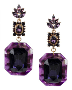 Purple Resin and Crystal Drop Earrings