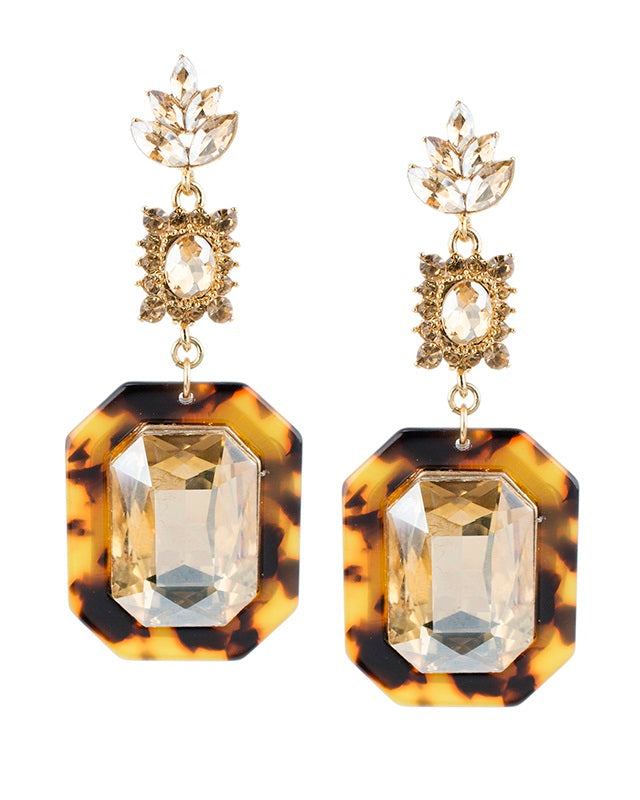Tortoise and Crystal Drop Earrings