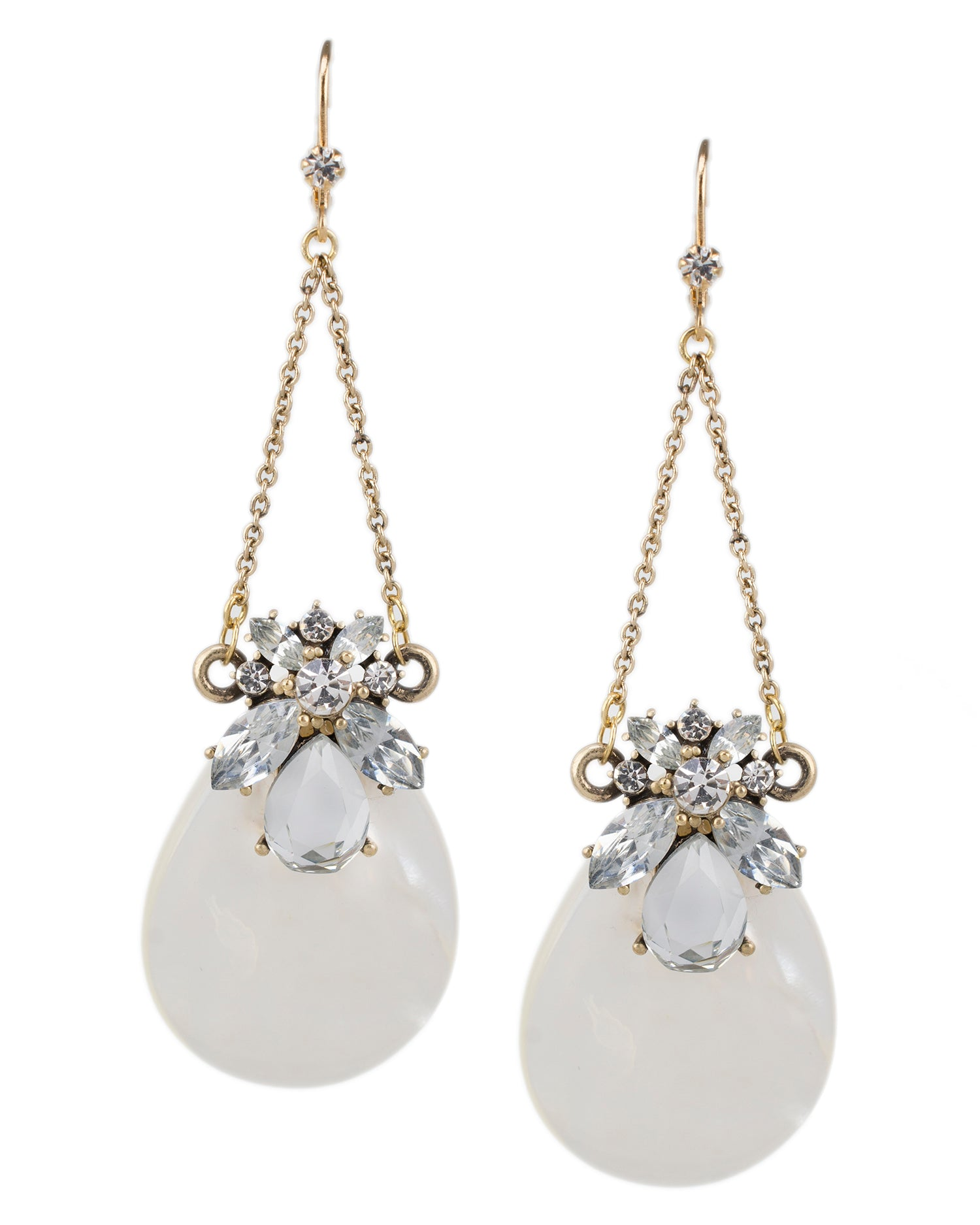 Mother of Pearl and Crystal Cluster Earrings
