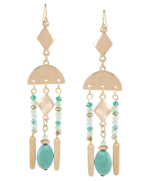 Turquoise Geometric Drop Earrings