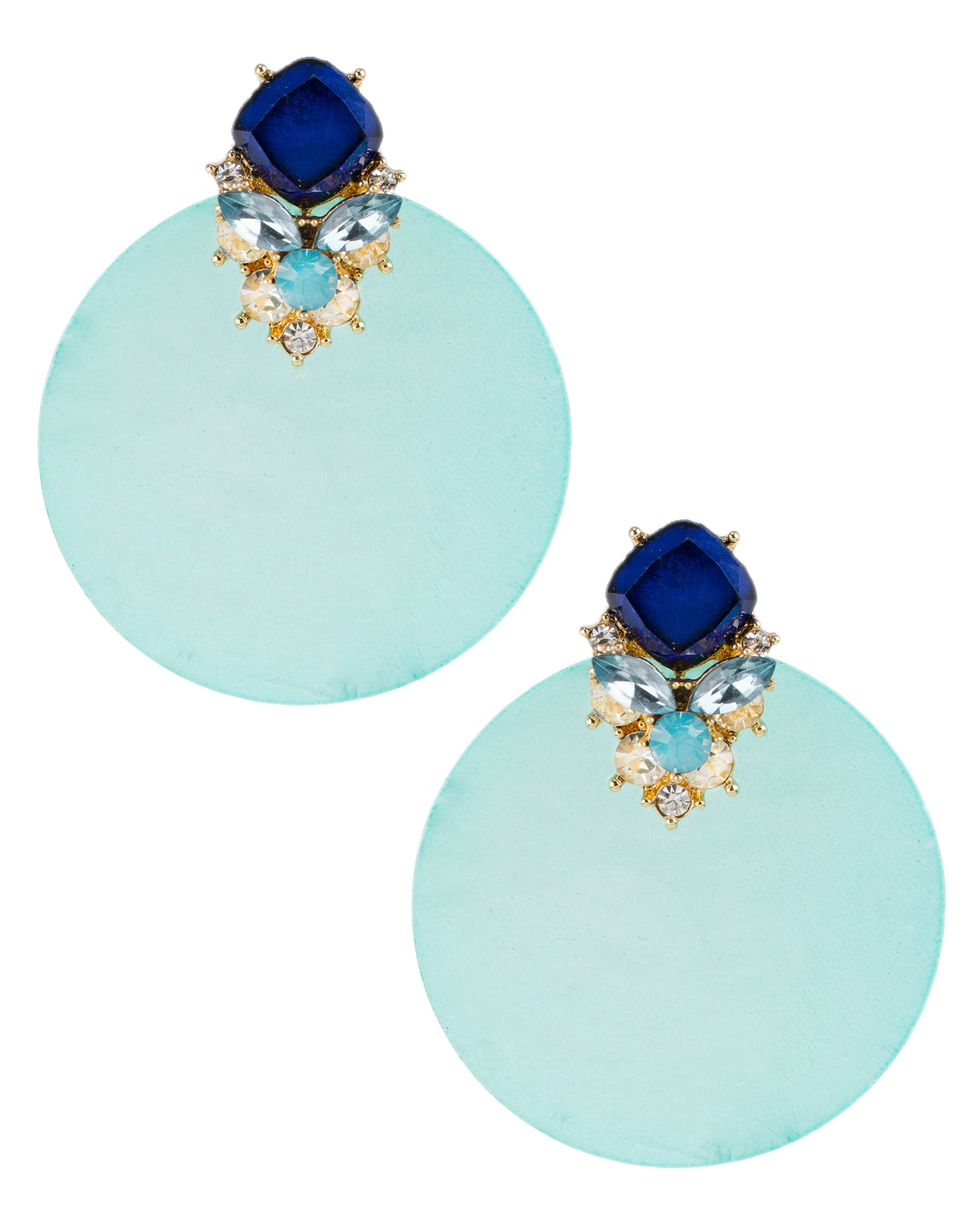 Blue Capize Shell Earrings
