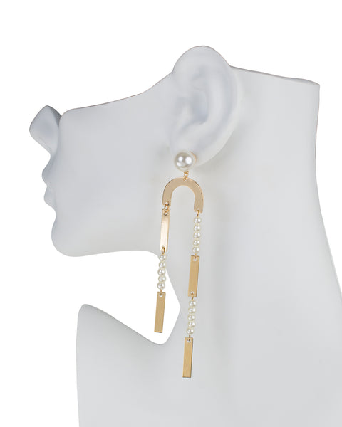 Pearl Horseshoe Elongated Earrings