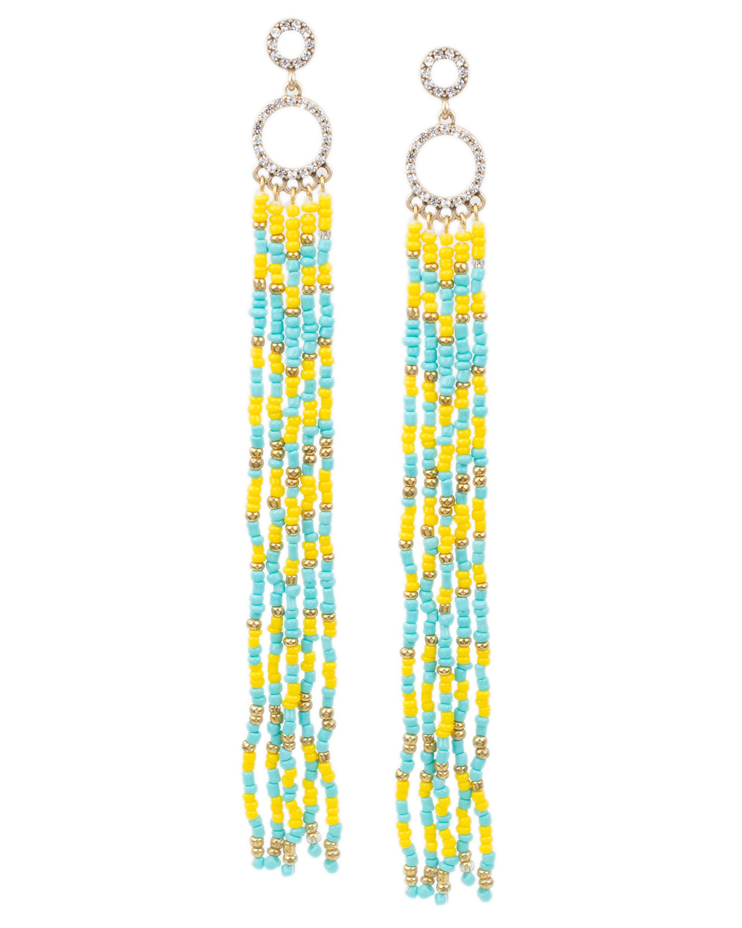 Blue and Yellow Beaded Fringe Earrings