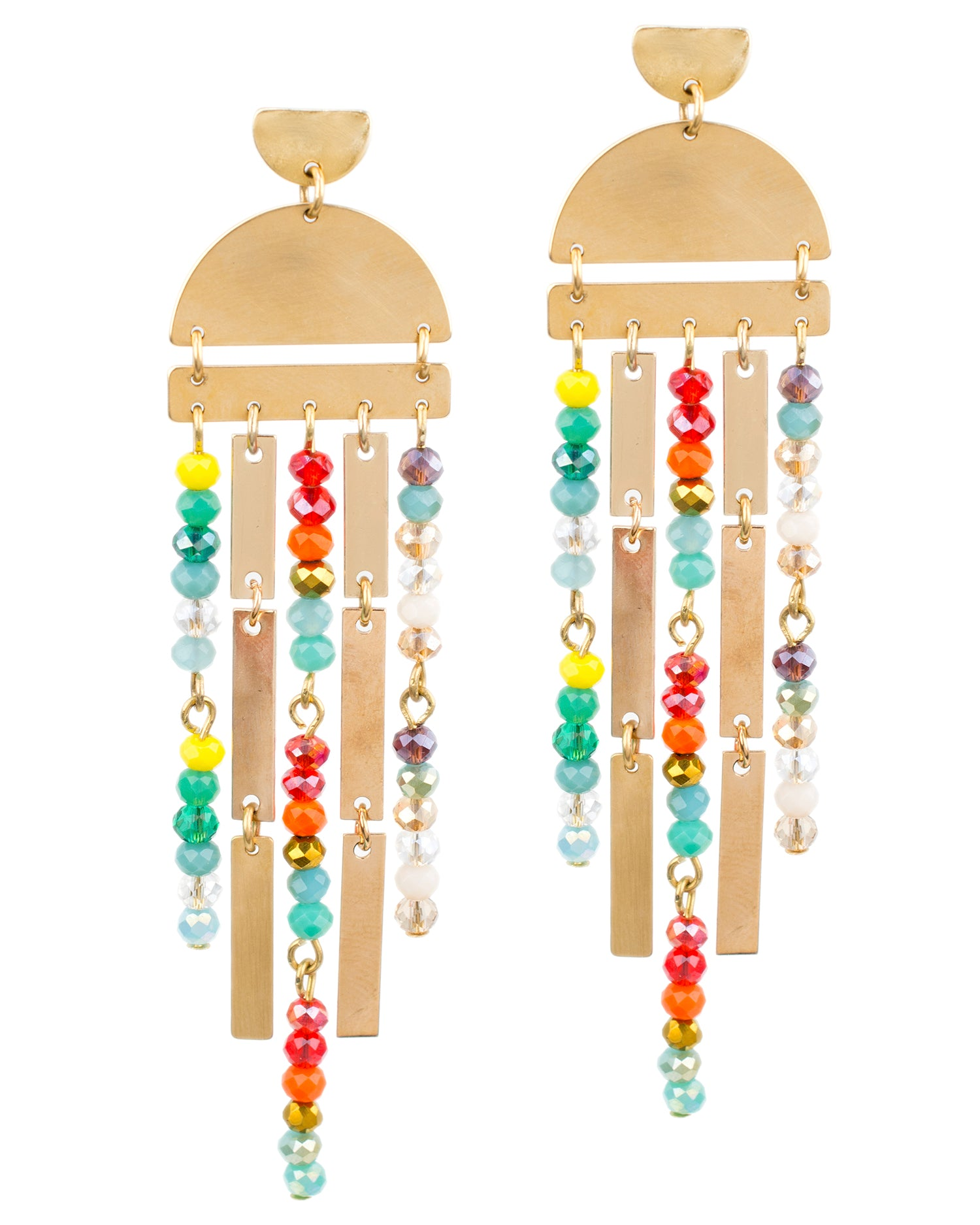 Rainbow Geometric Fringe Earrings