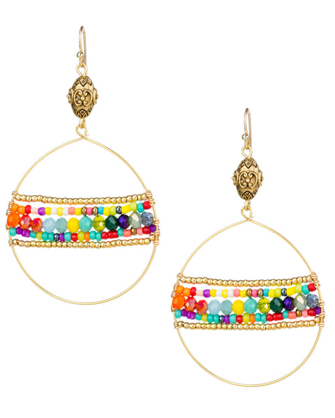 Rainbow Beaded Open Circle Earrings