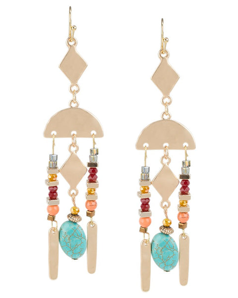 Colorful Beaded Geometric Earrings