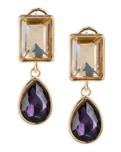 Champagne and Amethyst Double Drop Earrings
