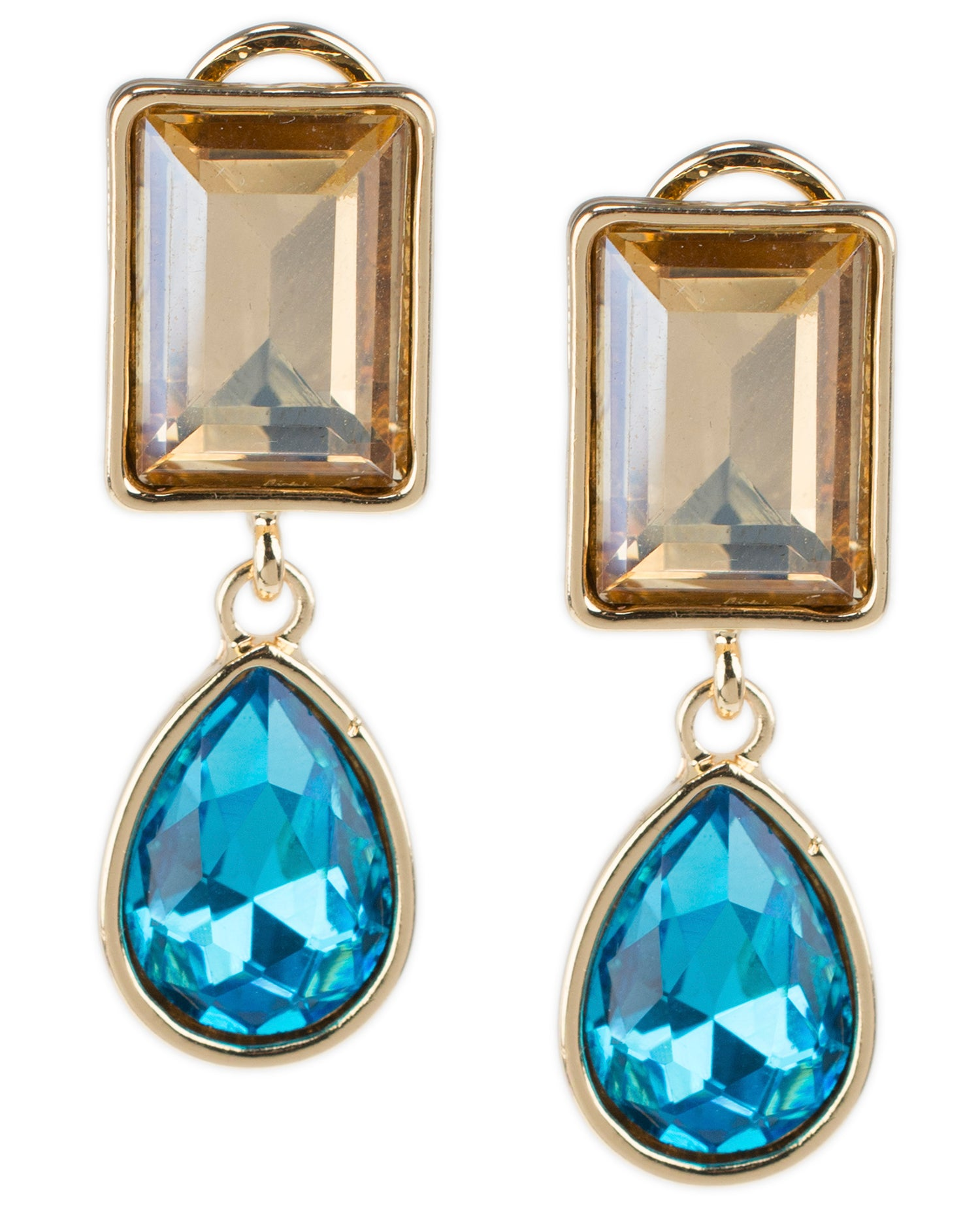 Champagne and Aqua Double Drop Earrings