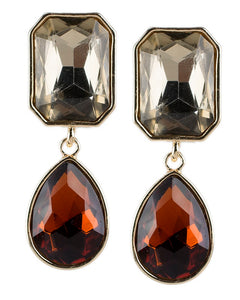 Champagne and Ruby Double Drop Earrings