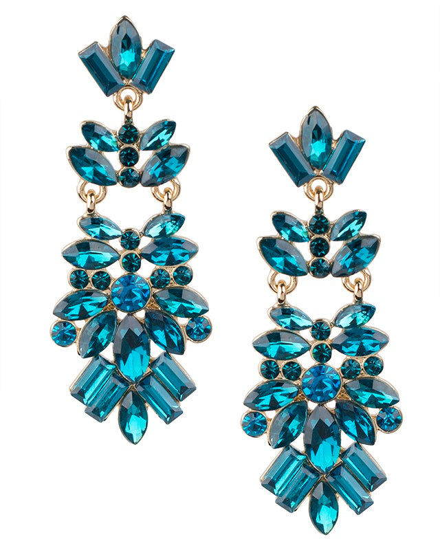 Teal Crystal Cluster Earrings