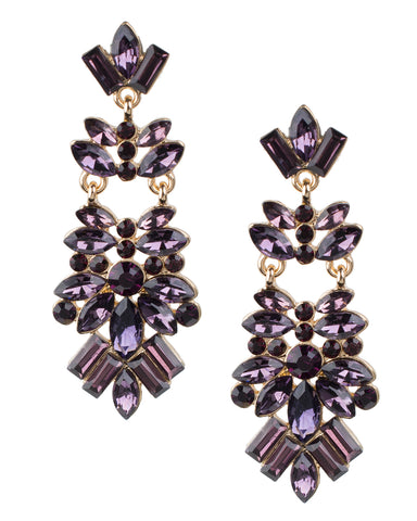 Purple Crystal Cluster Earrings