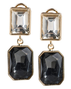 Champagne and Black Double Drop Earrings