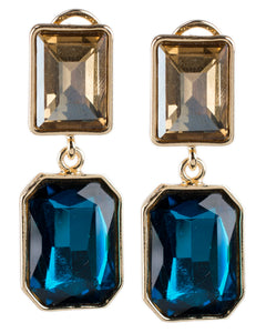 Champagne and Blue Double Drop Earrings